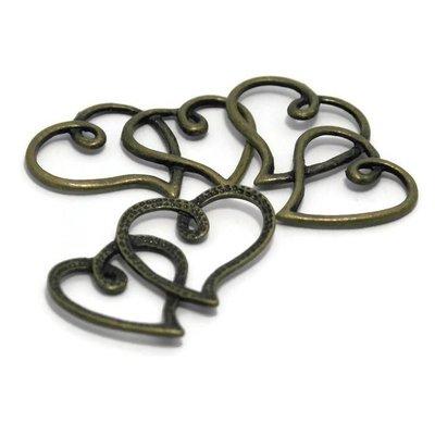 Bedeltjes hart 34x22x2 mm bronskleur (5st)