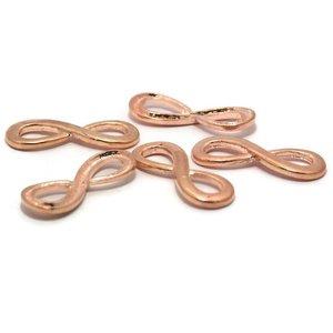 Bedeltjes infinity 34x13x4 mm rosé goudkleur (5st)