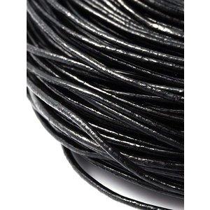 Leren koord  zwart 1,5 mm (5 meter)
