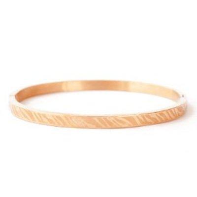 RVS armband rosé goudkleur - zebra print (p/st)