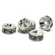 Metalen kralen met strass rondel 7 mm (p/st)