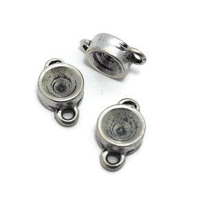 Setting 2-ogen voor SS39 antiek zilverkleur (p/st)
