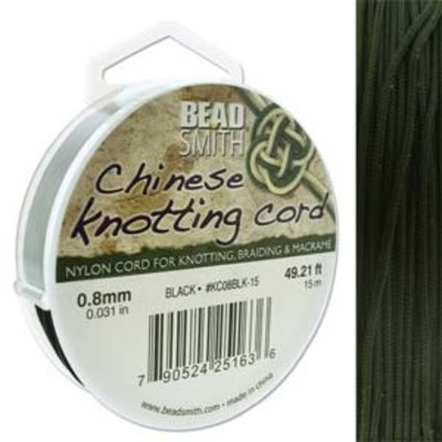 BeadSmith Chinese Knotting Cord Black 0,8 mm