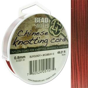 BeadSmith Chinese Knotting Cord Burgundy 0,8 mm