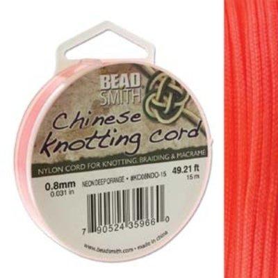 BeadSmith Chinese Knotting Cord Neon Deep Orange 0,8 mm