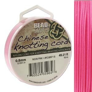 BeadSmith Chinese Knotting Cord Neon Pink 0,8 mm