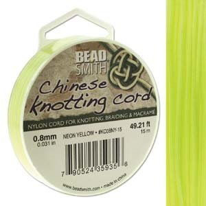 BeadSmith Chinese Knotting Cord Neon Yellow  0,8 mm