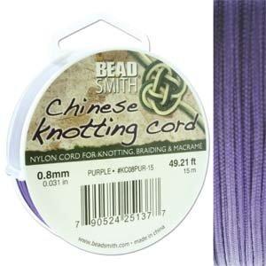 BeadSmith Chinese Knotting Cord Purple 0,8 mm