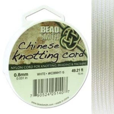 BeadSmith Chinese Knotting Cord White 0,8 mm