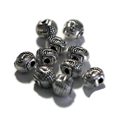 Metalen kralen Boeddha Hoofd (10 stuks)