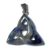 Blue spot stone edelsteen hanger triquetra (p/st)