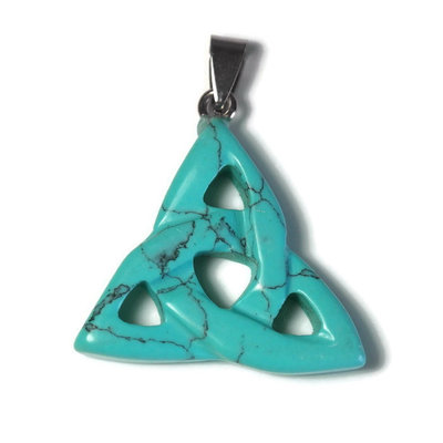 Turquoise edelsteen hanger triquetra (p/st)