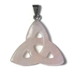 Rozenkwart edelsteen hanger triquetra (p/st)