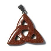 Goudsteen (bruin) edelsteen hanger triquetra (p/st)