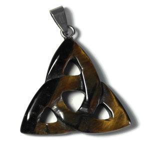 Tijgeroog edelsteen hanger triquetra (p/st)