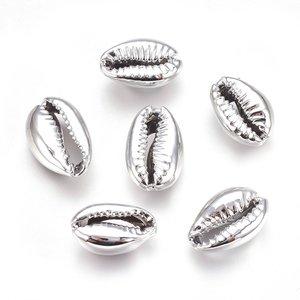 Cowrie schelp zilverkleur (5 stuks)