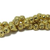 Lava kralen 6~7 mm rond electroplated goudkleurig (streng)
