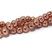 Lava kralen 6~7 mm rond electroplated rosé goudkleurig (streng)