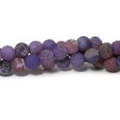 Agaat - effloresce plum 8 mm  rond (streng)