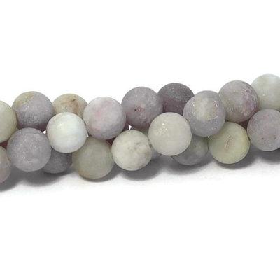 Violet steen kralen 8~8,5 mm rond 'frosted' (streng)