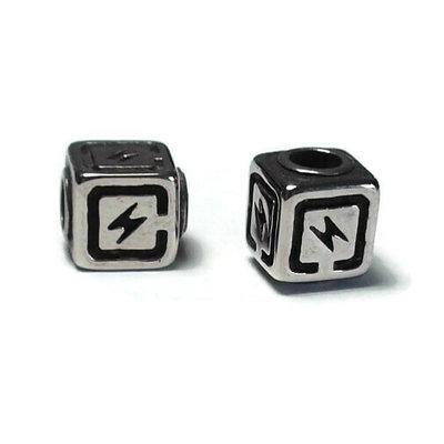 Metalen kralen RVS 3 kubus 'bliksem' (p/st)