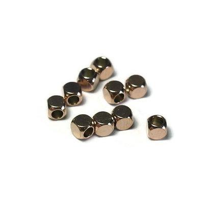 Metalen kralen RVS 3 mm kubus rosé goudkleur (10 stuks)