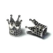 Metalen kralen kroon zilverkleur zwarte zirconia (p/st)