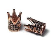 Metalen kralen kroon rosé goudkleur zwarte zirconia (p/st)