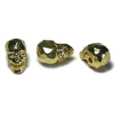 Metalen kralen skull goudkleur (3 stuks)