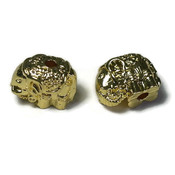 Metalen kralen olifant goudkleur (p/st)