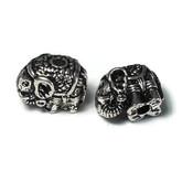 Metalen kralen olifant antiek zilverkleur (p/st)