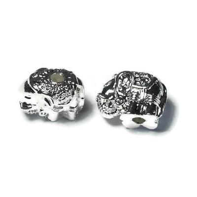Metalen kralen olifant zilverkleur (p/st)