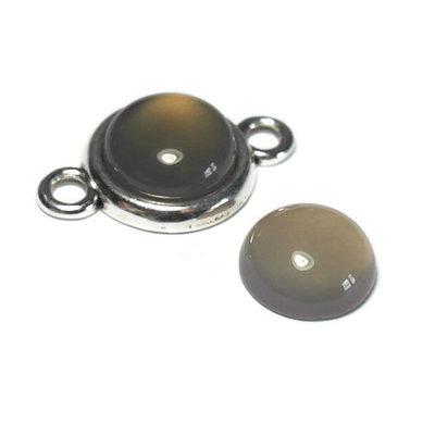 Agaat - Grijze agaat cabochon 12 mm (p/st)