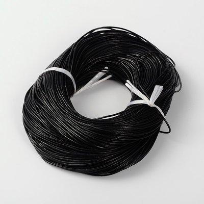 Leren koord 1,5 mm zwart (5 meter)