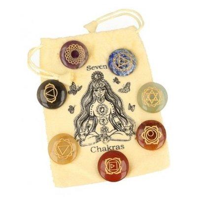 Chakra schijfstenen set in chakrabuidel