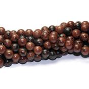 Mahonie obsidiaan kralen 6 mm rond (streng)