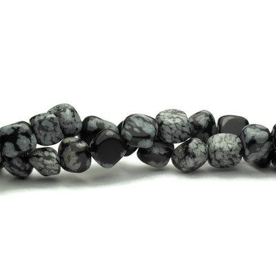 Sneeuwvlok obsidiaan kralen nuggets (streng)