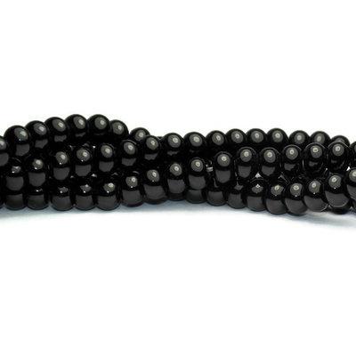 Agaat - zwarte agaat kralen 6x4 mm abacus (streng)
