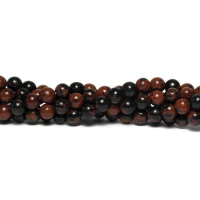 Mahonie obsidiaan kralen 4 mm rond (streng)