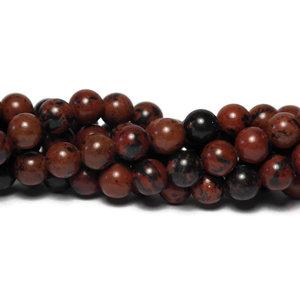 Mahonie obsidiaan kralen 8 mm rond (streng)
