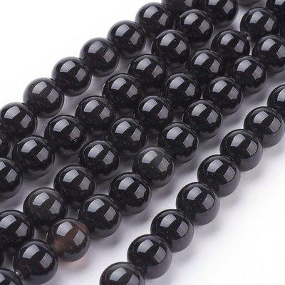 Obsidiaan kralen 8 mm rond AA kwaliteit (streng)