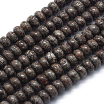 Sneeuwvlok obsidiaan kralen 6x4 mm abacus (streng)
