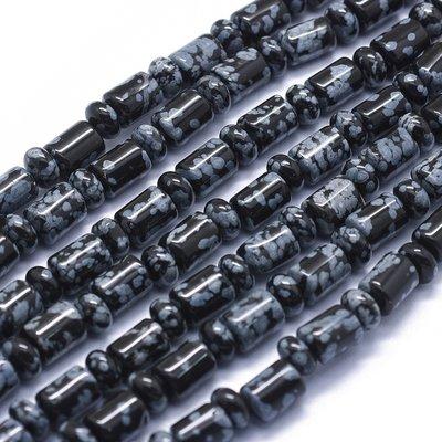Sneeuwvlok obsidiaan kralen kolom en abacus (streng)
