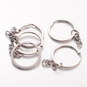 Sleutelringen zilverkleurig 25 mm (plat)