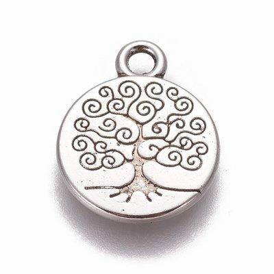 Metalen bedel 'tree of life' (5st)