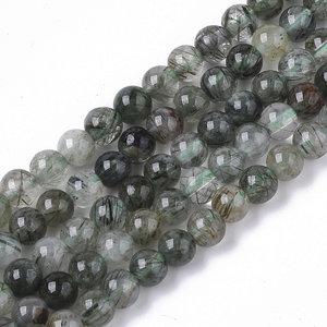 Rutielkwarts kralen groen 4 mm rond (streng)