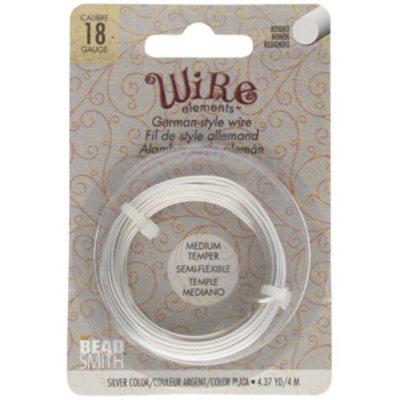 BeadSmith Wire elements -18 gauge 'Silver' semi-flexibel