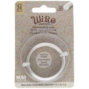 BeadSmith Wire elements -24 gauge 'Silver' semi-flexibel