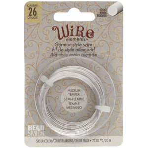 BeadSmith Wire elements -26 gauge 'Silver' semi-flexibel