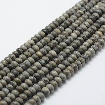 Jaspis - silver leaf jaspis kralen 6x4 mm abacus (streng)